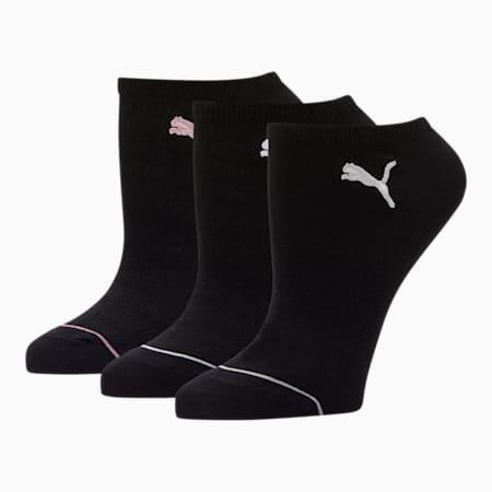 Women's No Show Socks [3 Pack], BLACK, small